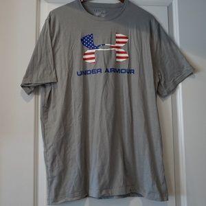 Under Armour Grey American Flag Men's XL tshirt